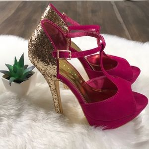 LILIANA Open Toe Stiletto Gold Glitter Heel